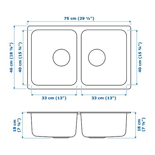 HILLESJÖN - inset sink, 2 bowls, stainless steel   IKEA Hong Kong and Macau - PE718598_S4