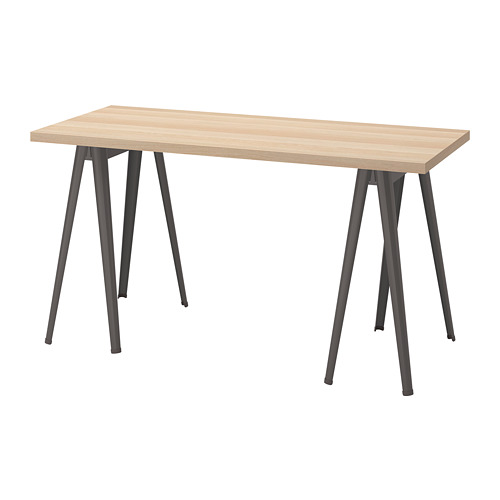 LAGKAPTEN/NÄRSPEL - desk, 140x60cm, white stained oak effect/dark grey | IKEA Hong Kong and Macau - PE813005_S4