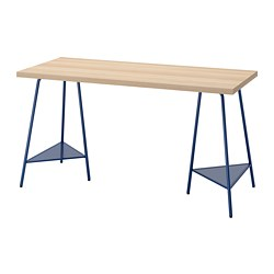 TILLSLAG/LAGKAPTEN - desk, 140x60cm, white stained oak effect dark blue | IKEA Hong Kong and Macau - PE813009_S3