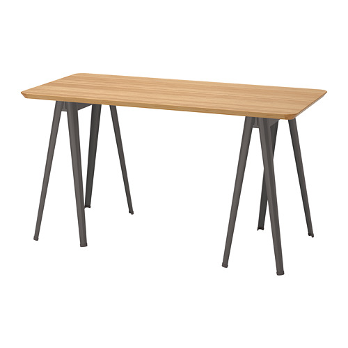 ANFALLARE/NÄRSPEL - desk, 140x65cm, bamboo/dark grey | IKEA Hong Kong and Macau - PE813089_S4