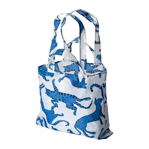 SKYNKE - 購物袋, 45x36 cm, 圖案 貓/藍色 白色   IKEA 香港及澳門 - PE813234_S4