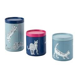 PLUGGHÄST - 連蓋收納盒,3件套裝, 貓/彩色   IKEA 香港及澳門 - PE814171_S3