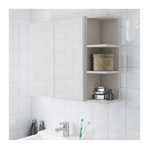 LILLÅNGEN - 雙門鏡櫃連1邊櫃, 白色/灰色 | IKEA 香港及澳門 - PE668432_S4