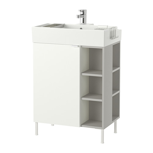LILLÅNGEN - washbasin cab 1 door/2 end units, white/grey Ensen tap | IKEA Hong Kong and Macau - PE668445_S4