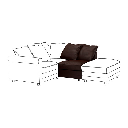 GRÖNLID - 1-seat section, Kimstad dark brown | IKEA Hong Kong and Macau - PE668584_S4