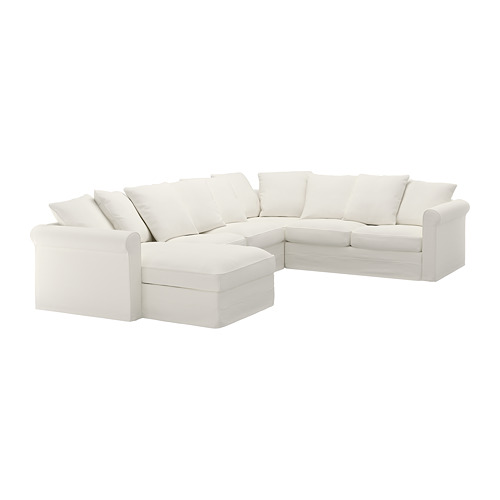 GRÖNLID - cover for corner sofa, 5-seat, with chaise longue/Inseros white | IKEA Hong Kong and Macau - PE668693_S4