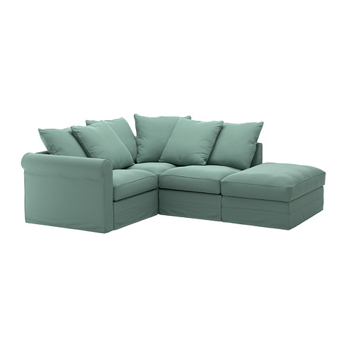 GRÖNLID - cover for corner sofa, 3-seat, with open end/Ljungen light green | IKEA Hong Kong and Macau - PE668725_S4