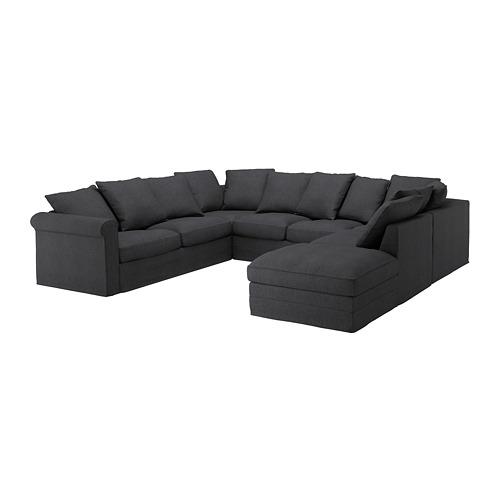 GRÖNLID - cover for u-shaped sofa, 6-seat, with open end/Sporda dark grey | IKEA Hong Kong and Macau - PE668748_S4