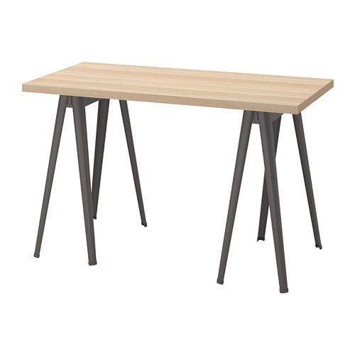 LAGKAPTEN/NÄRSPEL - desk, white stained oak effect/dark grey | IKEA Hong Kong and Macau - PE813661_S4