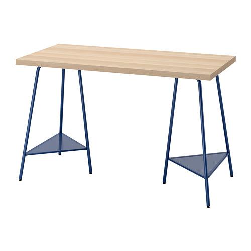 TILLSLAG/LAGKAPTEN - desk, white stained oak effect/dark blue | IKEA Hong Kong and Macau - PE813711_S4