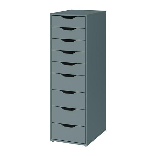 ALEX - 九格抽屜組合, 36x48x116 cm, 灰湖水綠色 | IKEA 香港及澳門 - PE813765_S4
