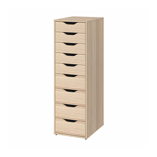 ALEX - drawer unit with 9 drawers, 36x48x116 cm, white stained/oak effect | IKEA Hong Kong and Macau - PE813767_S4