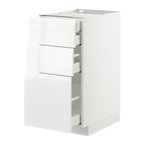 METOD - base cb 3 frnts/2 low/1 md/1 hi drw, white Maximera/Voxtorp high-gloss/white | IKEA Hong Kong and Macau - PE669130_S4