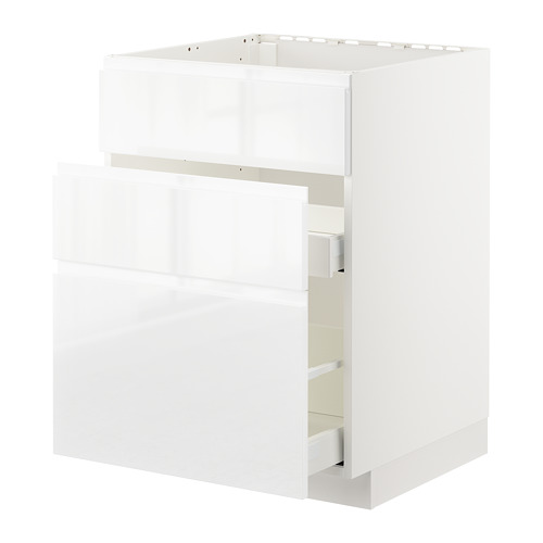 METOD/MAXIMERA - base cab f sink+3 fronts/2 drawers, white/Voxtorp high-gloss/white | IKEA Hong Kong and Macau - PE669177_S4