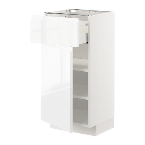 METOD/MAXIMERA - base cabinet with drawer/door, white/Voxtorp high-gloss/white | IKEA Hong Kong and Macau - PE669197_S4