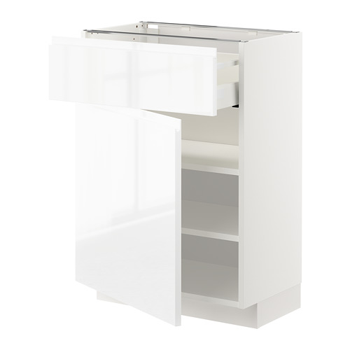 METOD/MAXIMERA - base cabinet with drawer/door, white/Voxtorp high-gloss/white | IKEA Hong Kong and Macau - PE669198_S4