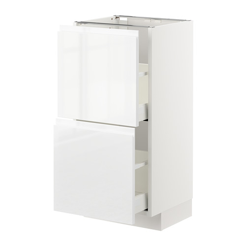 METOD - base cabinet with 2 drawers, white Maximera/Voxtorp high-gloss/white | IKEA Hong Kong and Macau - PE669199_S4