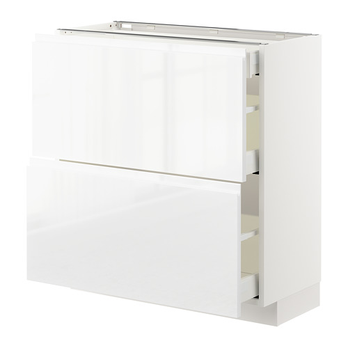 METOD - base cab with 2 fronts/3 drawers, white Maximera/Voxtorp high-gloss/white | IKEA Hong Kong and Macau - PE669208_S4