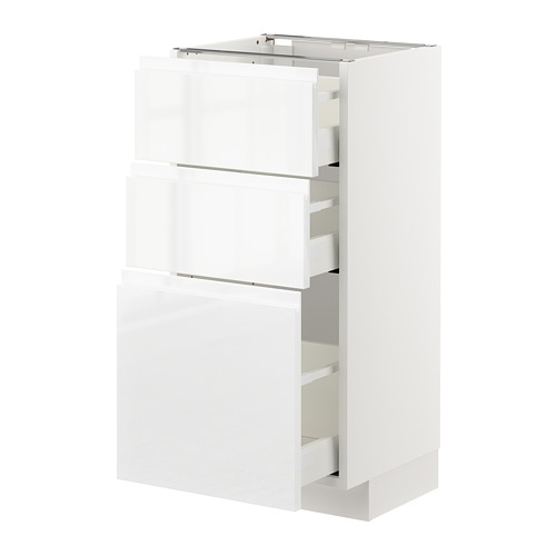 METOD - base cabinet with 3 drawers, white Maximera/Voxtorp high-gloss/white | IKEA Hong Kong and Macau - PE669209_S4