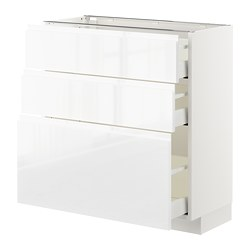 METOD - base cabinet with 3 drawers, white Maximera/Voxtorp high-gloss/white | IKEA Hong Kong and Macau - PE669213_S3
