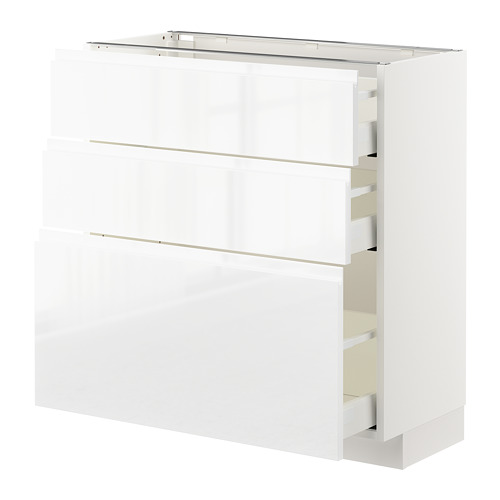 METOD - base cabinet with 3 drawers, white Maximera/Voxtorp high-gloss/white | IKEA Hong Kong and Macau - PE669213_S4