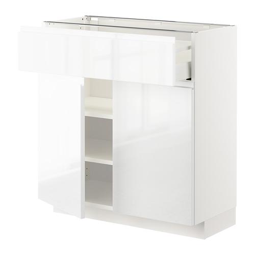 METOD/MAXIMERA - 雙門地櫃連抽屜, white/Voxtorp high-gloss/white   IKEA 香港及澳門 - PE669221_S4