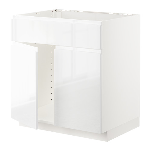 METOD - base cabinet f sink w 2 doors/front, white/Voxtorp high-gloss/white | IKEA Hong Kong and Macau - PE669229_S4