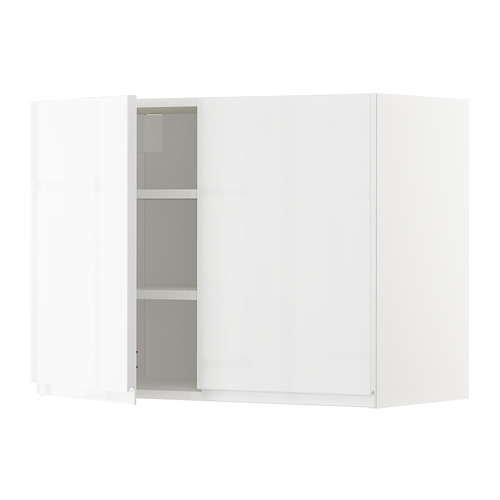 METOD - wall cabinet with shelves/2 doors, white/Voxtorp high-gloss/white | IKEA Hong Kong and Macau - PE669248_S4