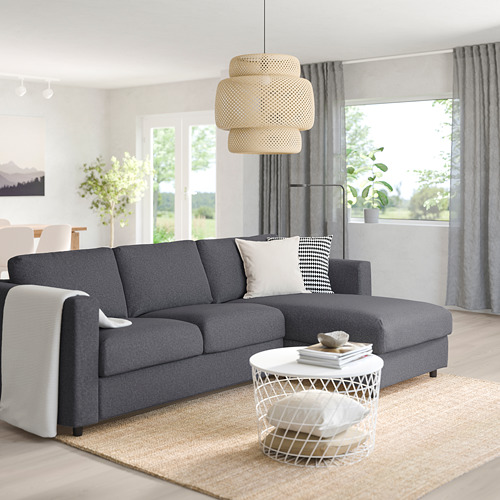 VIMLE - 3-seat sofa, with chaise longue/Gunnared medium grey | IKEA Hong Kong and Macau - PE758883_S4