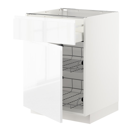 METOD/MAXIMERA - base cab w wire basket/drawer/door, white/Voxtorp high-gloss/white | IKEA Hong Kong and Macau - PE669323_S4