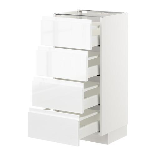 METOD - 地櫃連4面板/4抽屜, 白色 Maximera/Voxtorp 光面白色 | IKEA 香港及澳門 - PE669330_S4