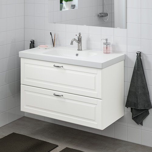 ODENSVIK/GODMORGON - 雙抽屜洗手盆櫃, Kasjön white/Hamnskär tap   IKEA 香港及澳門 - PE758986_S4