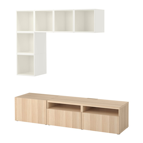 EKET/BESTÅ - cabinet combination for TV, white/white stained oak effect | IKEA Hong Kong and Macau - PE617931_S4