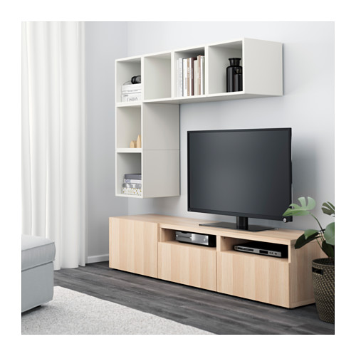 EKET/BESTÅ - cabinet combination for TV, white/white stained oak effect | IKEA Hong Kong and Macau - PE617924_S4