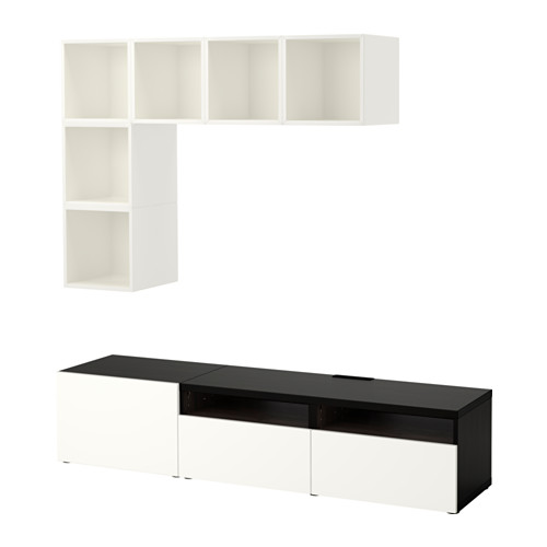 BESTÅ/EKET - cabinet combination for TV, white/black-brown/high-gloss/white | IKEA Hong Kong and Macau - PE617932_S4