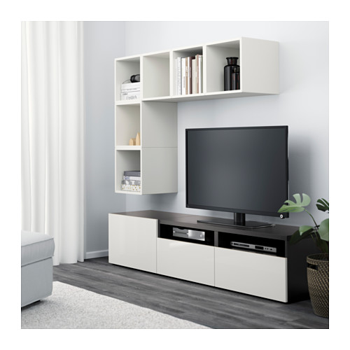 BESTÅ/EKET - cabinet combination for TV, white/black-brown/high-gloss/white | IKEA Hong Kong and Macau - PE617933_S4