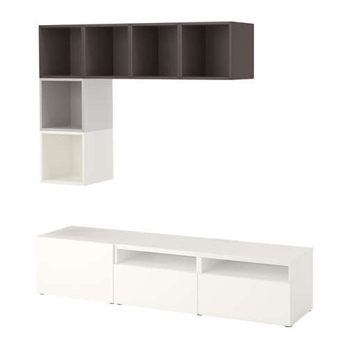 EKET/BESTÅ - cabinet combination for TV, white/light grey/dark grey | IKEA Hong Kong and Macau - PE617939_S4