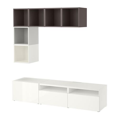 EKET/BESTÅ - cabinet combination for TV, white/high-gloss/white | IKEA Hong Kong and Macau - PE617927_S4