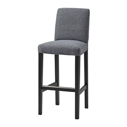 BERGMUND - 高腳凳連靠背, 黑色/Gunnared 暗灰色 | IKEA 香港及澳門 - PE781764_S3