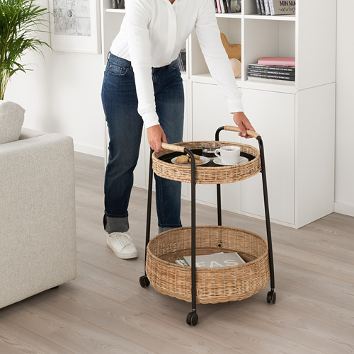 LUBBAN - trolley table with storage, rattan/anthracite   IKEA Hong Kong and Macau - PE719506_S4