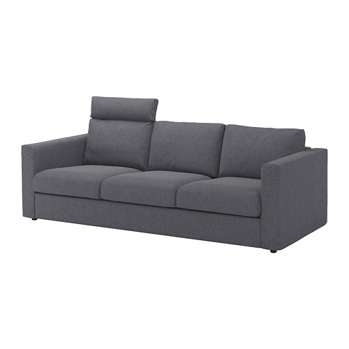 VIMLE - cover for 3-seat sofa, with headrest/Gunnared medium grey | IKEA Hong Kong and Macau - PE675175_S4