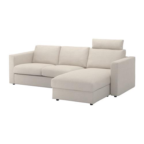 VIMLE - cover 3-seat sofa w chaise longue, with headrest/Gunnared beige | IKEA Hong Kong and Macau - PE675191_S4