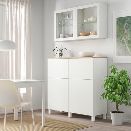 BESTÅ - 貯物組合連門/抽屜, white Lappviken/Sindvik/Stubbarp white clear glass | IKEA 香港及澳門 - PE814716_S4