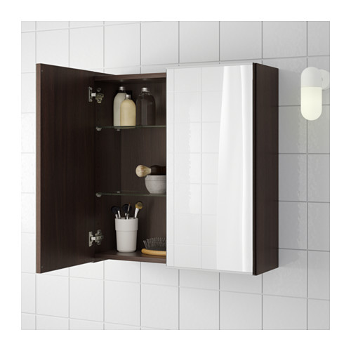 LILLÅNGEN - mirror cabinet with 2 doors, black-brown | IKEA Hong Kong and Macau - PE554894_S4