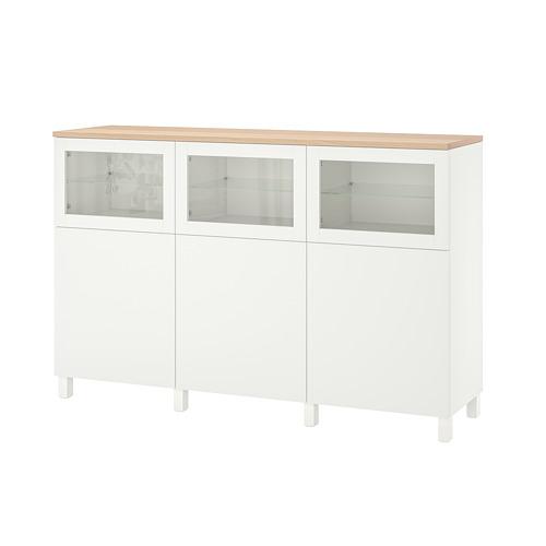 BESTÅ - storage combination with doors, Lappviken/Stubbarp/Sindvik white clear glass | IKEA Hong Kong and Macau - PE814713_S4