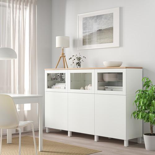 BESTÅ - storage combination with doors, Lappviken/Stubbarp/Sindvik white clear glass | IKEA Hong Kong and Macau - PE814720_S4