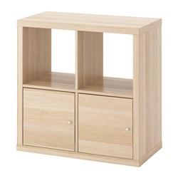 KALLAX - shelving unit with doors, white stained oak effect | IKEA Hong Kong and Macau - PE618833_S3