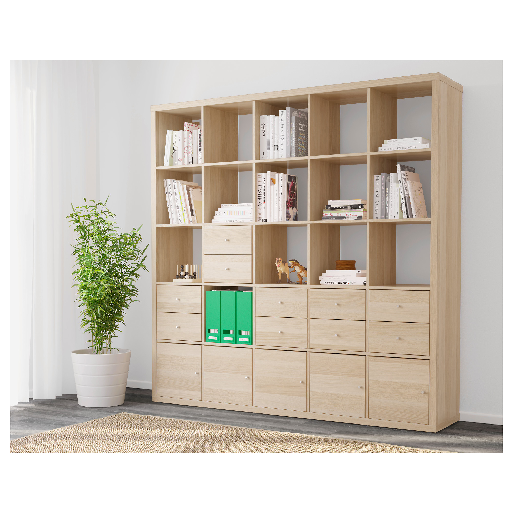 Kallax Shelving Unit With 10 Inserts White Stained Oak