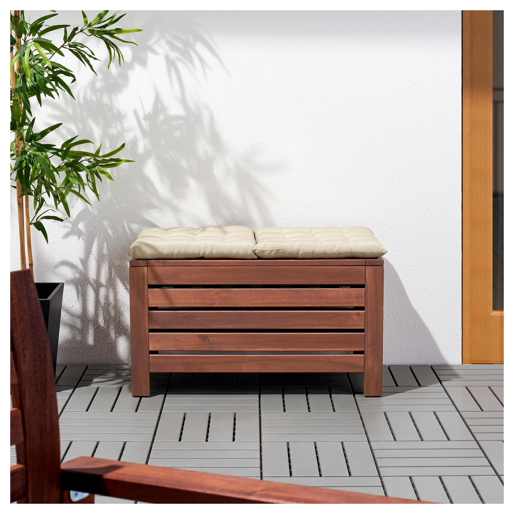 ÄPPLARÖ - Storage Bench, Outdoor, Brown Stained