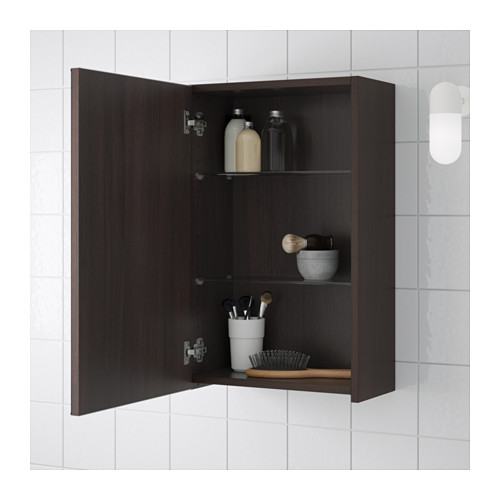 LILLÅNGEN - mirror cabinet with 1 door, black-brown | IKEA Hong Kong and Macau - PE555443_S4